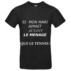 T-SHIRT MENAGE TENNIS NOIR